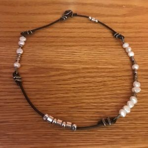 Silpada Leather and fresh water pearl necklace